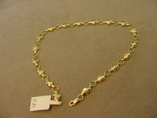 6005: 14K GOLD HEART DESIGN ANKLE BRACELET