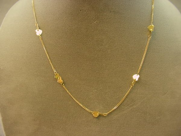 6010: 1 18 INCH 14K GOLD HEART DESIGN NECKLACE