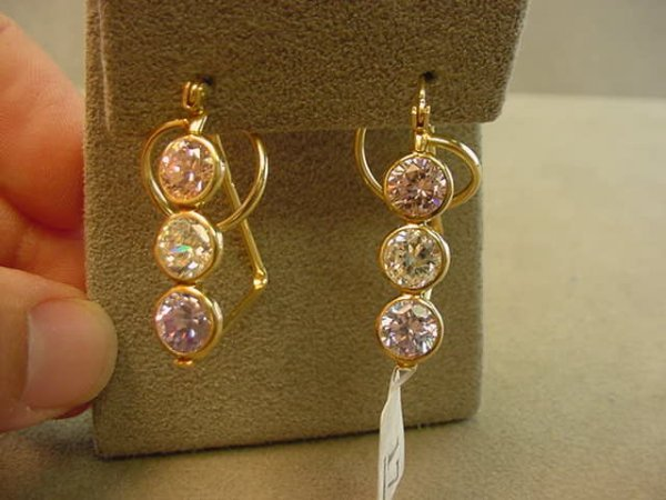 6017: 14K GOLD CUBIC ZIRCONIA EARRINGS