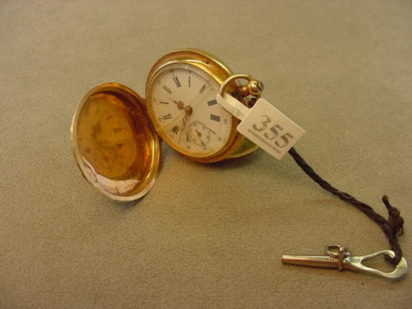 6355: KEY WIND 14K GOLD POCKETWATCH