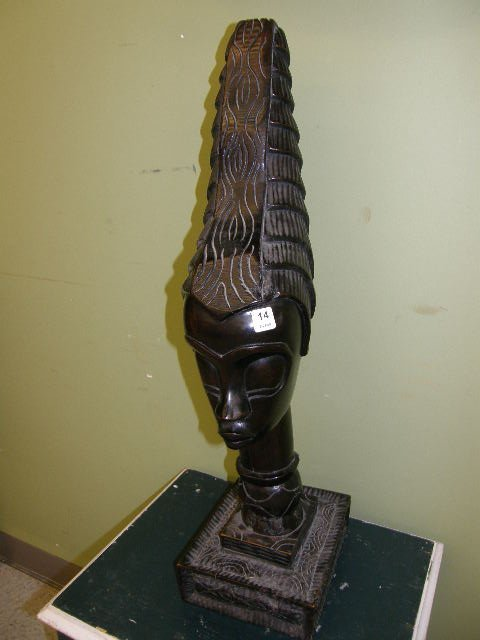 7014: LARGE CARVED AFRICAN BUST