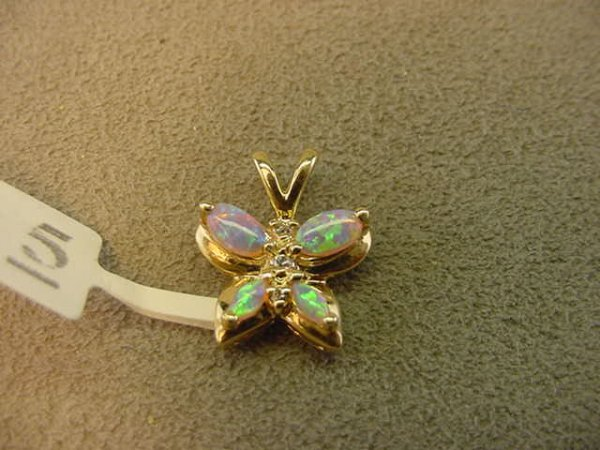 1005: 10K GOLD OPAL AND CLEAR STONE BUTTERFLY PENDANT