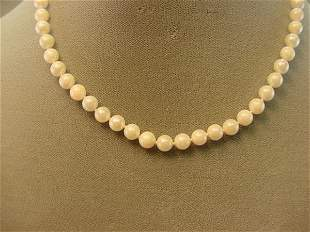 """16"""" STRAND CULTURED PEARLS WITH 14K GOLD CLASP"""