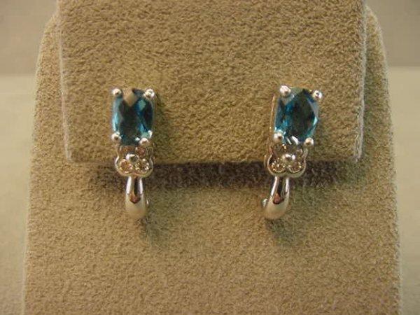 1013: 14K WHITE GOLD BLUE TOPAZ AND DIAMOND EARRINGS