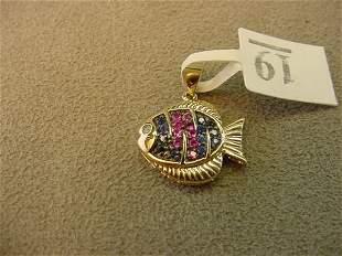 10K GOLD SAPPHIRE AND DIAMOND FISH PENDANT