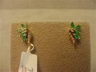 10K GOLD EMERALD AND DIAMOND EARRINGS