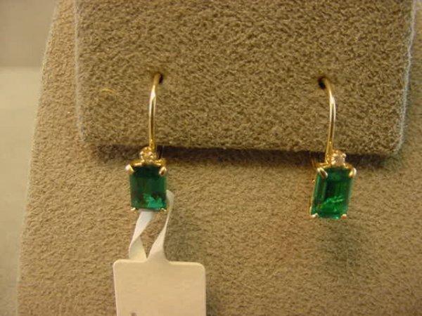 1022: 14K GOLD EMERALD AND DIAMOND EARRINGS