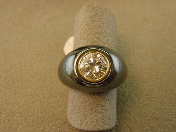 1116: BULGARI 18K GOLD 1.70 CT DIAMOND & HEMATITE RING