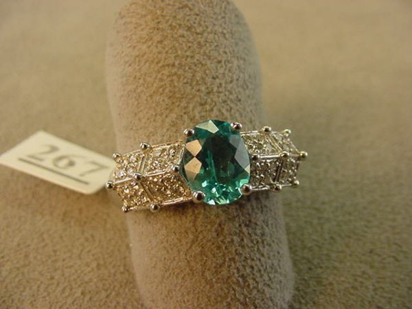 1267: 14K WHITE GOLD APATITE AND DIAMOND RING