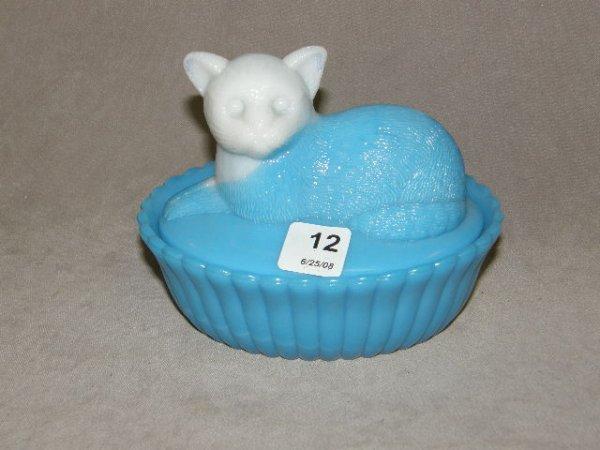 2012: CAT DESIGN COVERED SLAG GLASS BOWL