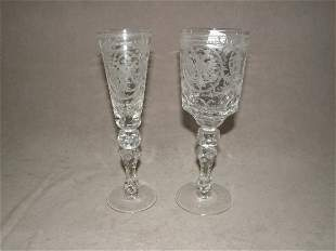 2 MATCHING CUT AND ETCHED GLASS GOBLETS -2 SIZES