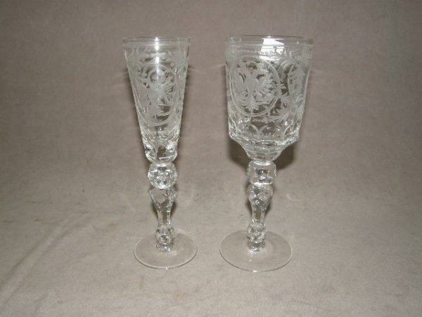 2003: 2 MATCHING CUT AND ETCHED GLASS GOBLETS -2 SIZES