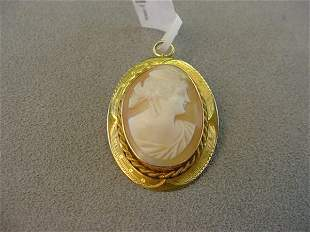 CARVED SHELL CAMEO IN PIN/PENDANT MOUNT