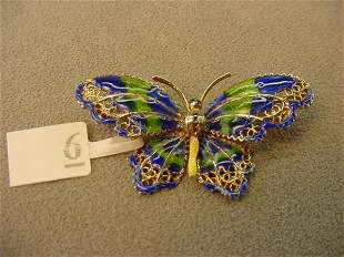 14K GOLD ENAMEL DECORATED BUTTERFLY PIN