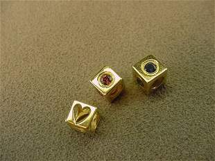 3 14K GOLD SLIDE PENDANTS OR CHARMS