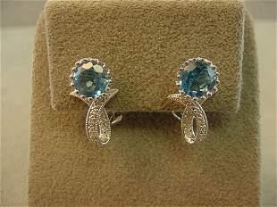 18K WHITE GOLD BLUE TOPAZ AND DIAMOND EARRINGS