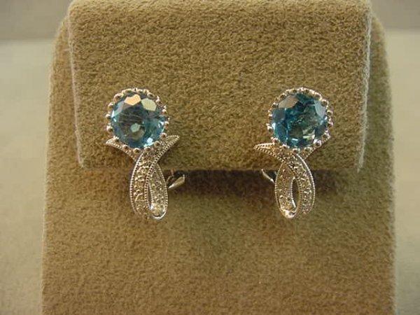 3021: 18K WHITE GOLD BLUE TOPAZ AND DIAMOND EARRINGS