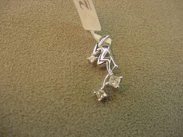 3023: 14K WHITE GOLD PRINCESS CUT DIAMOND PENDANT