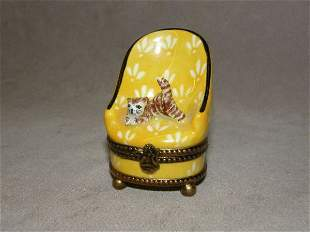 LIMOGES HINGED COVERED TRINKET BOX-CAT IN CHAIR