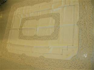 LACE AND OPENWORK TABLECLOTH AND 7 NAPKINS