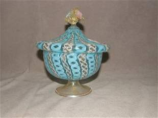 ART GLASS COVERED COMPOTE