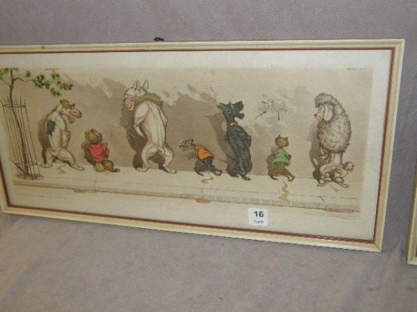 4016: VINTAGE FRAMED SIGNED FRENCH DOGS PRINT