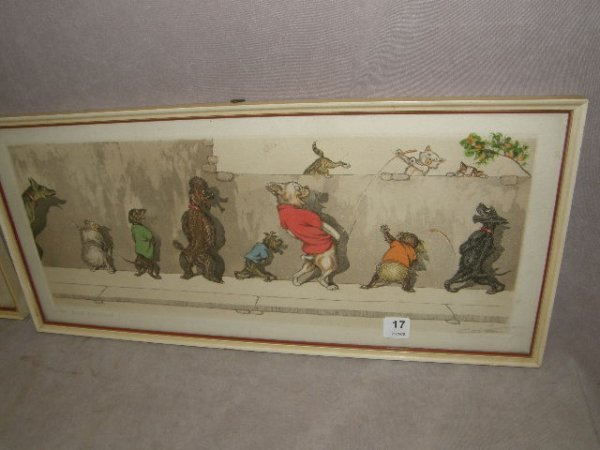 4017: VINTAGE FRAMED SIGNED FRENCH DOGS PRINT