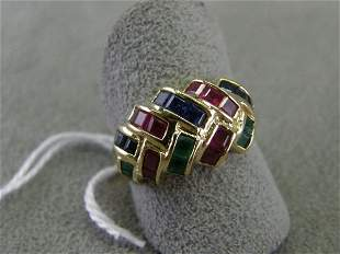 14K GOLD RUBY AND SAPPHIRE RING
