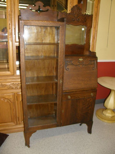 4176: OAK SECRETARY/CHINA CABINET