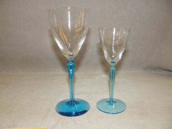 18 CLEAR AND BLUE GLASS GOBLETS-2 SIZES