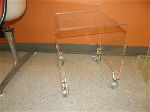 2 LUCITE WHEELED STANDS