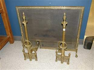 PAIR ORNATE BRASS ANDIRONS AND FIREPLACE SCREEN