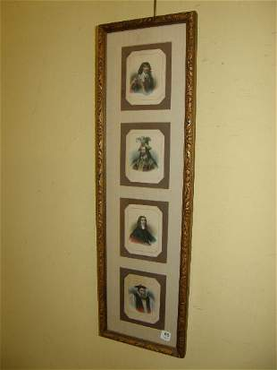 FRAME OF 4 COLORED ENGRAVINGS - PORTRAITS