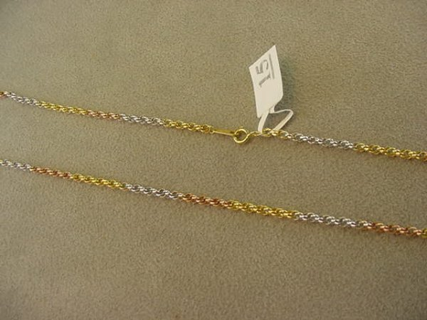 5015: 1 18 INCH 14K THREE COLOR GOLD CHAIN