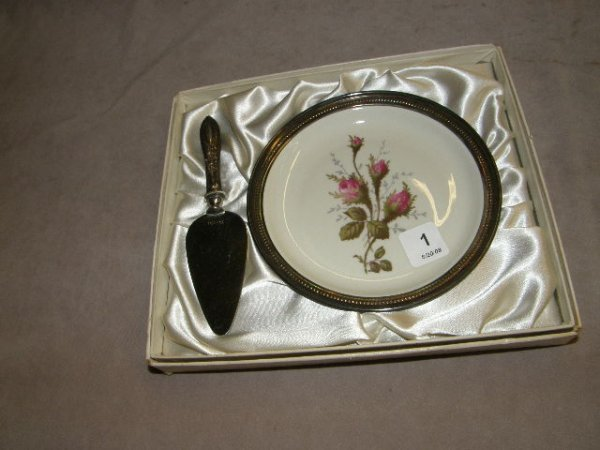6001: ROSENTHAL TRAY WITH STERLING RIM & SERVER