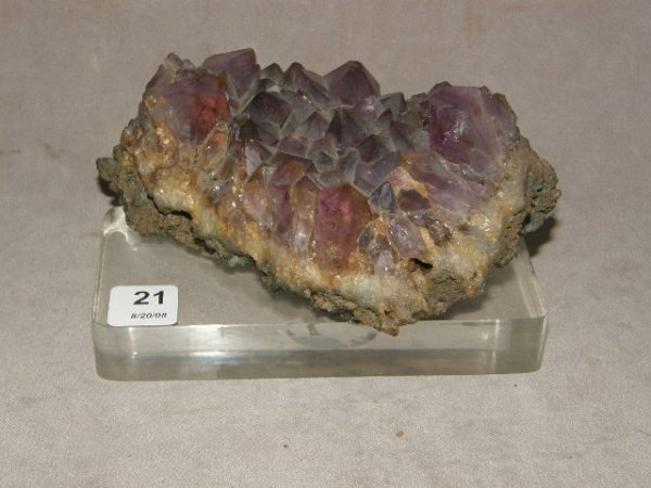 6021: AMETHYST CRYSTAL ON LUCITE BASE