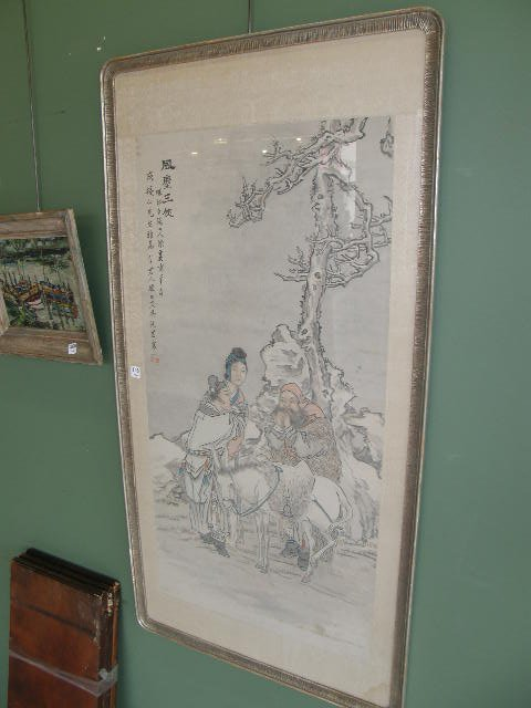 6108: LARGE FRAMED SIGNED ORIENTAL PAINTING