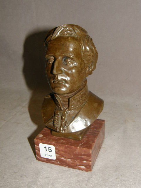 6015: METAL CLAD BUST ON STONE BASE