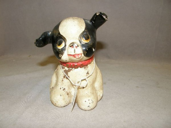 7214: CAST IRON PAINTED DOG FIGURE