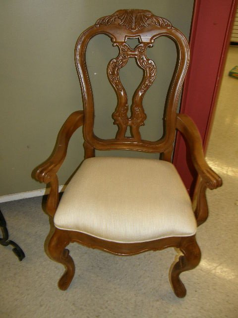 7218: 2 CARVED HEAVY FRENCH STYLE ARM CHAIRS