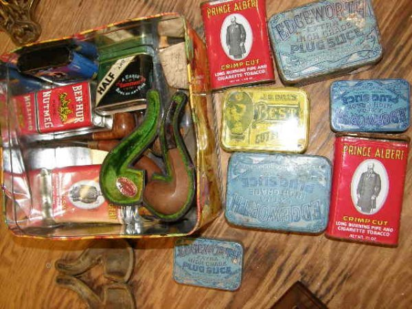 7225: GROUP OF PIPE, PIPE CASES AND TOBACCO TINS