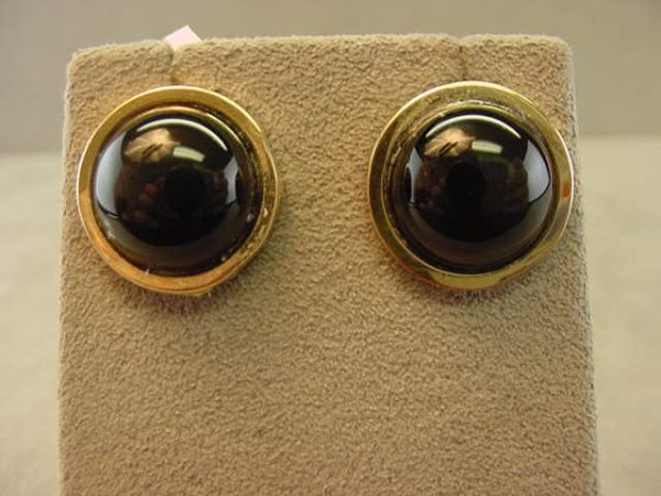 8009: 14K GOLD BLACK ONYX EARRINGS