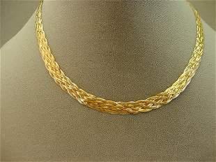 14K GOLD BRAIDED HERRINGBONE CHAIN