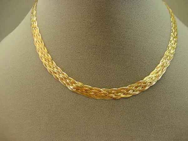 8010: 14K GOLD BRAIDED HERRINGBONE CHAIN