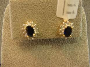 14K GOLD BLUE SAPPHIRE AND DIAMOND EARRINGS