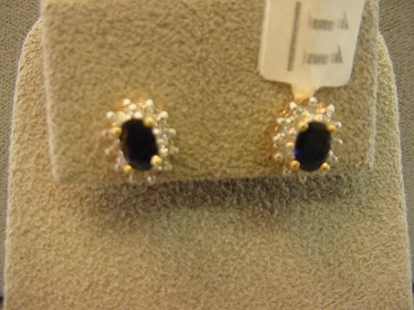 8011: 14K GOLD BLUE SAPPHIRE AND DIAMOND EARRINGS