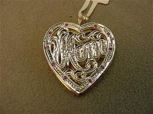 14K GOLD RUBY AND DIAMOND MOM HEART PENDANT