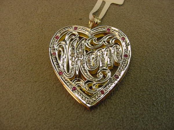 8015: 14K GOLD RUBY AND DIAMOND MOM HEART PENDANT