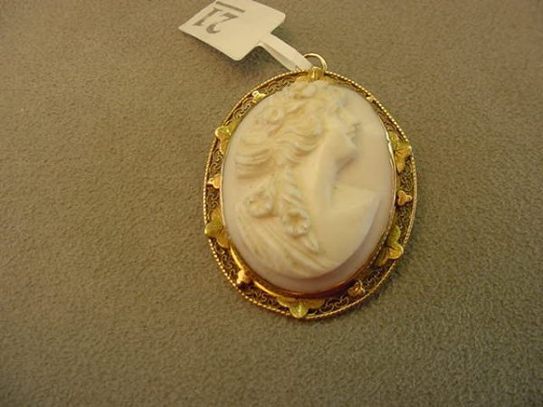 8021: CARVED SHELL CAMEO IN 10K GOLD MOUNT