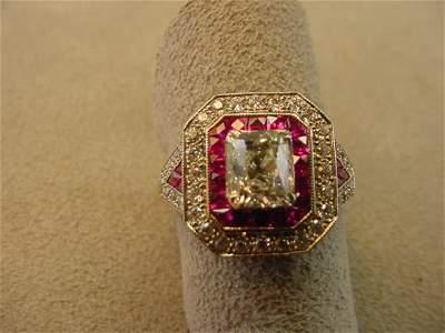 8081: 18K WHITE GOLD 1.02 CT CUSHION CUT DIAMOND RING